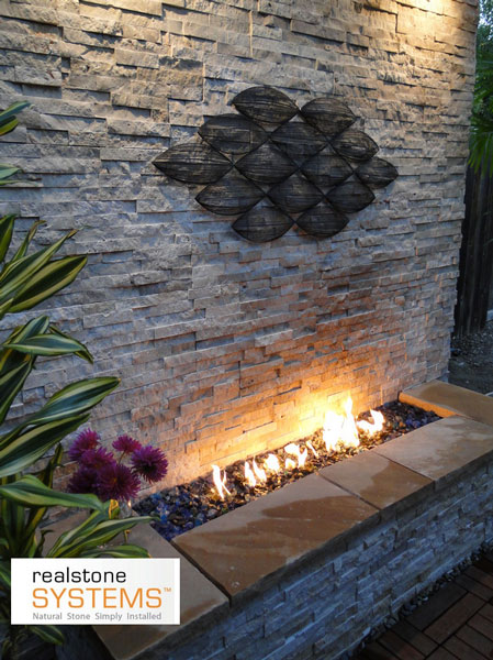 Realstone Thin Veneer Outdoor Fireplace
