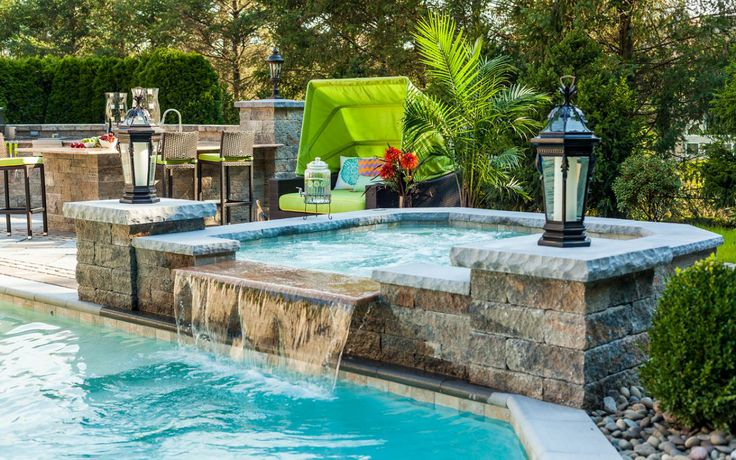 Now Dive Right In! Take A Look At These 7 Beautiful Hardscape Poolsides!  Paver Patio Pool Deck Pavers