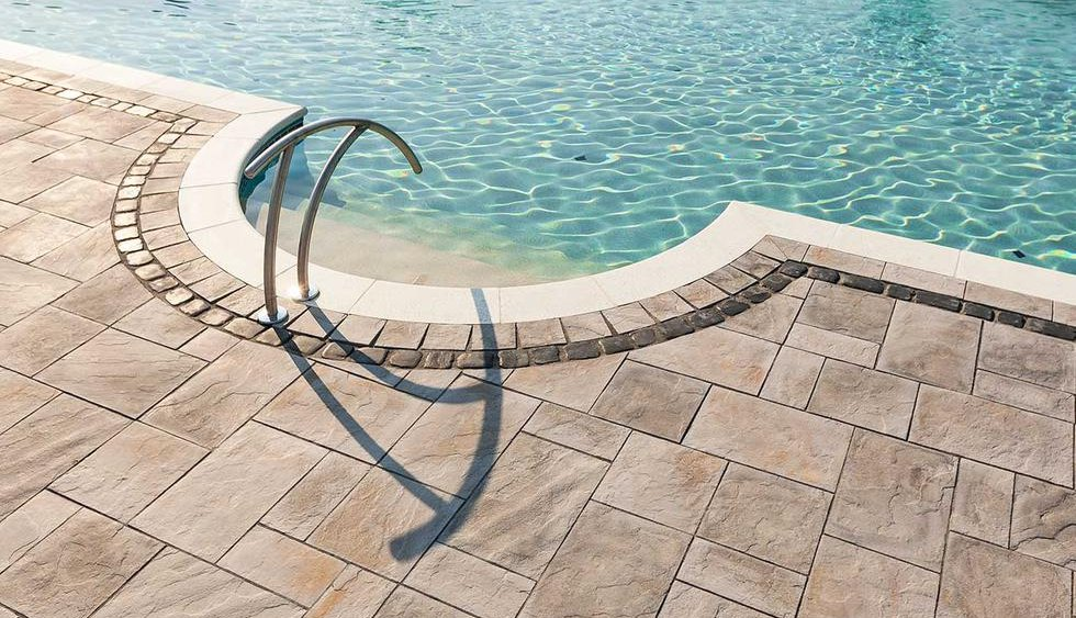 Pool Paver Ideas swimming pool landscape design wall around landscape from pool deck Bluestone Pillar Caps Paver Patio Pool Deck Pavers