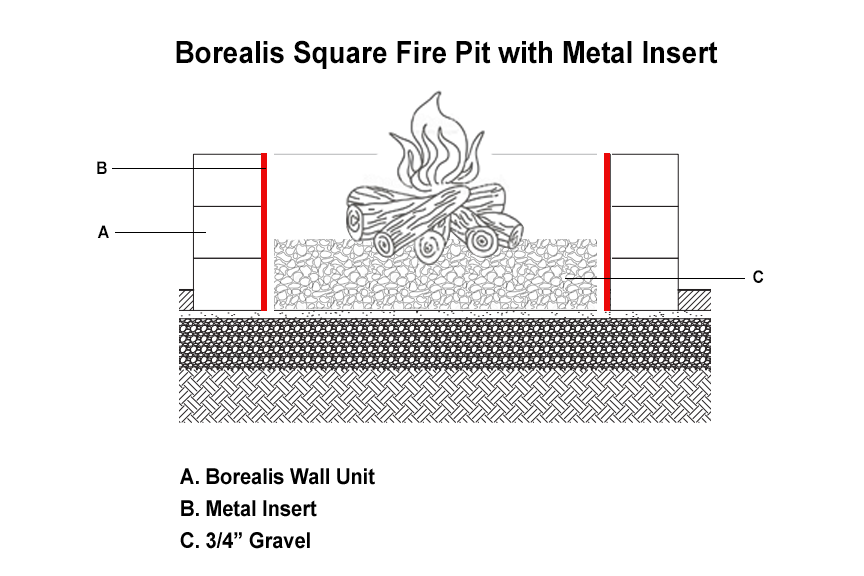 Borealis Fire Pit with Metal Insert Sleeve