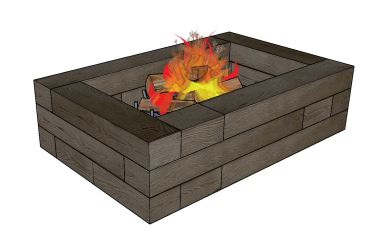 Borealis Rectangle Fire Pit Drawing